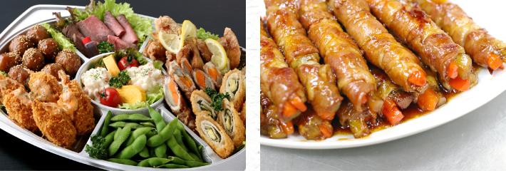 肉屋の各種惣菜写真